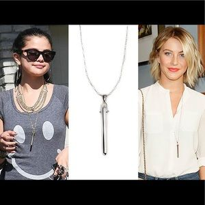 Stella & Dot silver rebel pendant bar necklace